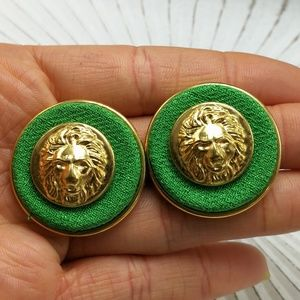 🌵 CLIP-ON Vintage HUGE gold lion Kelly green prep